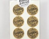 Set of 12 round Kraft Stickers - Happy Mail