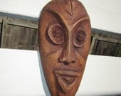 Roger Francois Hand Carved and Signed Wood Mask Wall Sculpture