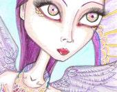 big eyes Angel, fantasy art print, pixie, fairy, faeries, purple hair