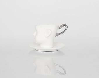 Whimsical doll head cup - white porcelain and silver artisan cupwith saucer, whimsical ceramic design