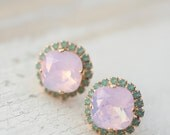 Pink opal and turquoise crystal stud Swarovski square earrings, Post earrings, Gold earrings, Bridal earrings, Bridesmaid gift