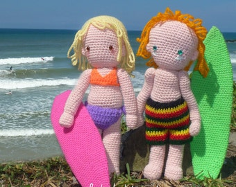 Amigurumi Crochet Doll Pattern - Surfer Girl Surfing Boy & Board - Instant Download