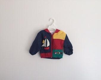 Vintage 1980s Toddler Boys Nautical Hipster Colorblock Sailboat Track Jacket