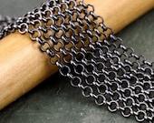 Chain : Gunmetal Rolo Chain / Black Cross Chain - 3.5mm x 1mm ... SOLD PER 10 FEET ... Lead, Nickel & Cadmium Free 62948