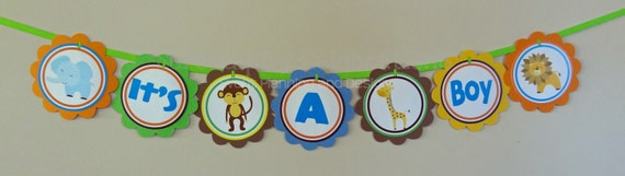 Personalized Scalloped Word Banner -It's A Jungle Out There -Birthday -Baby Shower -Jungle Party -Party Banner -Photo Prop