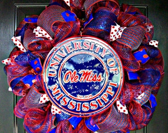 Deco Mesh Ole Miss Fan Wreath with Sign