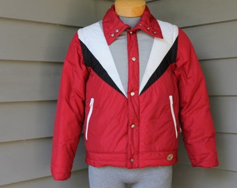 vintage 70's - 80's Men's -Camel- puffy ski jacket / vest combo. Down insulated - Removable sleeves - Hood. Extra Small 36 - 38