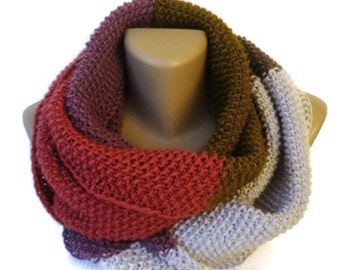dr Who style scarf knit colorful infinity scarf / knit women scarf / men scarf / neckwarmer / chunky cowl scarf / gift ideas senoAccessory