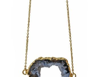 sideways AGATE geode druzy necklace