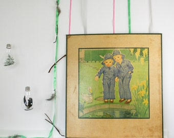 Vintage Childrens School chart, Rain Coats, Educational Chart