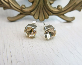 Champagne Small Studs Champagne Earrings Bridal Earrings Swarovski Crystal Earrings Gift for Her Wedding Jewelry Bridesmaid Earrings