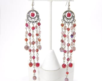 ON SALE 15% OFF Red and Purple Shoulder Duster Valentine Silvertone Chandelier Earrings with Hypoallergenic Hooks
