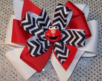 ELMO Hair Bow or Headband / Red & Black Chevron / 123 Sesame Street / Big Bird / Infant / Baby / Girl / Toddler / Custom Boutique Clothing