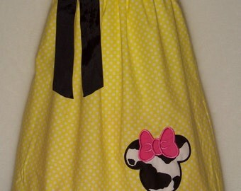 Minnie Mouse Pillowcase Dress / Disney / Pink / Cow Print / Cowgirl / Newborn / Infant / Baby / Girl / Toddler / Custom Boutique Clothing