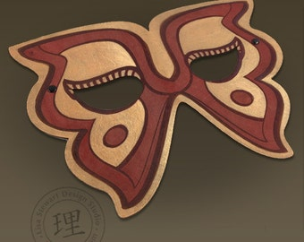 Full Grain Leather Butterfly Mask - Halloween - Masquerade - WallArt Hand Painted Vegetable Tan