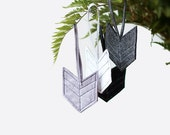 Modern Christmas ornament - Set of 4 - Chevron - Arrow - Gray - Geometric - Gift idea