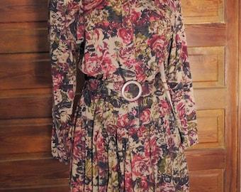 1980s Button Front Drop Waist Floral Shirt Dress Rayon Soft Autumn Long Sleeve Boho Hippie Dress