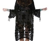 SALE 20% OFF // Gypsetter Brocade Velvet Burnout Beaded Fringe Tassel Kimono