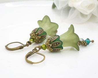 Olive green flower earrings, dark earthy autumn olive green lucite flower dangle earrings, vintage style beaded lucite flower jewelry