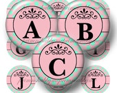 Alphabet. Letters, Bottle Cap Images, Aquamarine and Pink, Polka Dots, Digital Collage Sheet, Printable, 1 Inch Circles,  No. 1