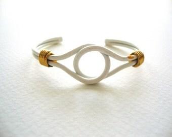 Vintage Love Knot Bracelet / White Enamel Knot Cuff Bracelet