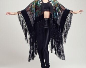 Velvet Fringe Kimono - Wild Flower
