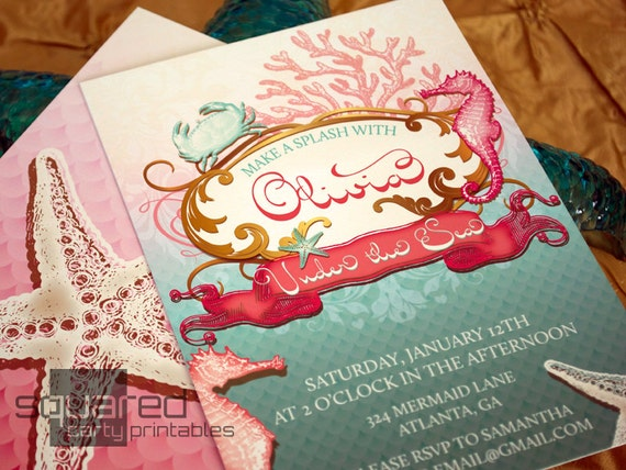 Mermaid Printable Birthday Party Invitation Under the Sea Party