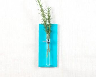 Wall Vase - Hanging Vase, Bud Vase - Wall Sconce Vase - Science Chic - Turquoise, Aqua, Blue - Custom Color Options