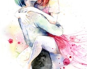 Romantic Couple Watercolor Painting Print - Kissing Couple in Love - The Notebook Movie Scene inspired