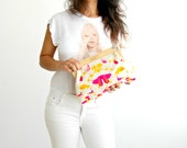 Hand painted clutch, Vegan bag, painted fabric, PINK AND YELLOW