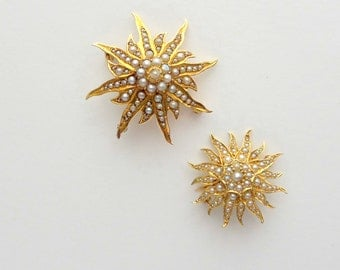 Antique Star Pendant. 14k Gold & Pearls. Brooch. Sun Sunburst Starburst.
