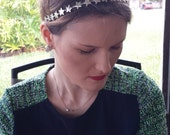 Silver Metal Star Crystal Beaded Elastic Halo Headband, for weddings, parties, evening, cocktail, special occasions