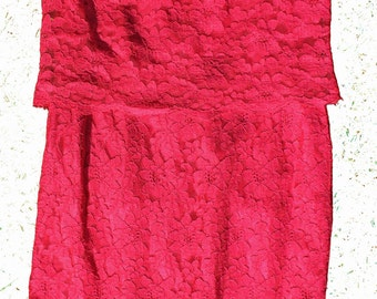 1960s Bright Pink Lace Shift Dress - Fuschia Floral Retro Dress - Sleeveless Medium -Large- SALE