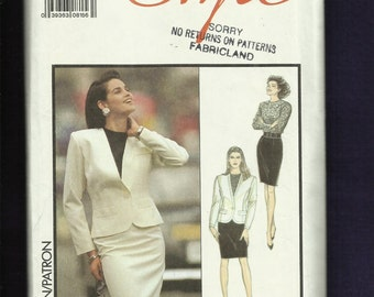 Vintage 1988 Style 1491 Sexy Princess Seam Jacket with Pocket Welts & Pencil Skirt  Size 12