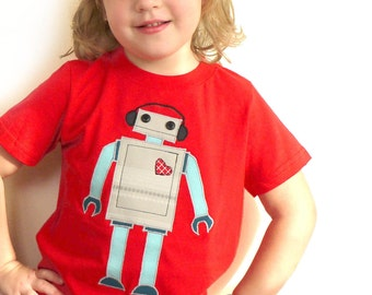 SALE: Childrens robot applique tshirt / top, red, navy and teal - made with upcycled fabric