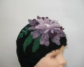 Hand Knit Black  Hat with Purple Needle Felted Flower