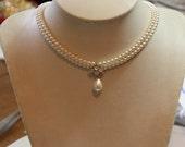 Bride Ivory Pearl Necklace Wedding Rhinestone Necklace Drop Pearl Pearls 1920's Choker Vintage Deluxe Bride Choker Wedding Necklace Crystals