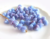 30 Pcs - Czech Glass Baby Bell Flowers - Blue Raspberry Swirl - 4/6mm