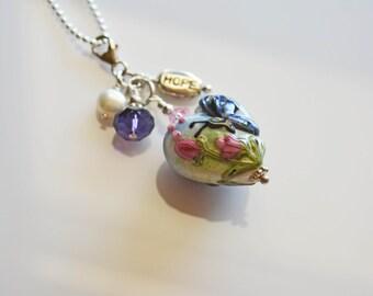 Heart pendant, lampwork, detachable, Blue butterfly, Glass Heart, clip on pendant, glass heart, everyday jewelry, gift under 20