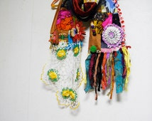 Patchwork Bohemian Gypsy Ethnic Silk Cotton Multi Color Scarf