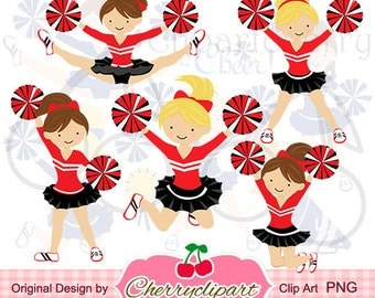 Red,Black and White Cheerleaders Set for -Personal and Commercial Use-paper crafts,card making,scrapbooking,web design