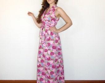 Vintage 60s Maxi Dress - Boho, Pink Purple Floral, Summer Party Dress, Tropical Babe - MED