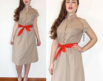 Vintage 80s Day Dress - Beige Khaki & Red Stripe Spring Summer Party Picnic M/L