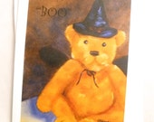 Halloween Note Card (blank inside, set of 4) - Teddy Boo - Fine art reproduction