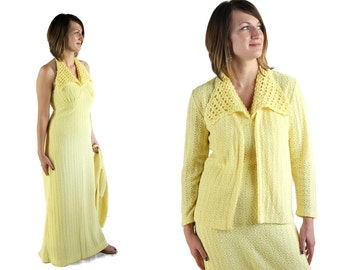 70s Halter Dress / Pin Up / Knit Dress / Yellow / Katrina Custom Knits