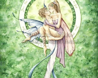 Fantasy Fairy Art  Romantic Kissing Couple Love Quote Illustration Fairytale Print - Green Lucky Clover - Sarah Alden