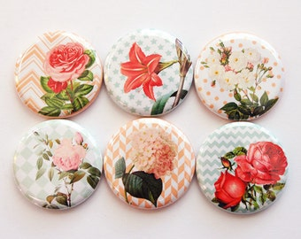 Flower Magnets, Nature Magnets, Flowers, Chevron, Floral, Floral magnets, button magnets, Kitchen Magnets (3452)