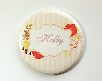 Personalized pocket mirror, purse mirror, pocket mirror, custom mirror, bridesmaid gift, bridal shower favor, stripes, flowers (3562)