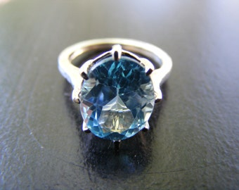 15% Off Sale.S252 New Sterling Silver Multiprong Solitaire Ring with 4 Carat Natural Blue Topaz  Gemstone