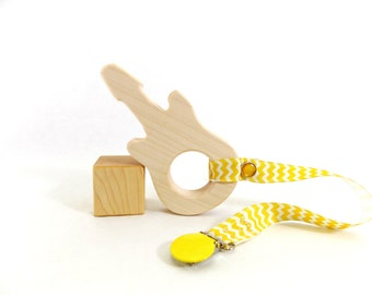 Organic Baby Teether - Guitar Shaped Baby Toy and Teether, Natural Baby Toy from Bannor Toys